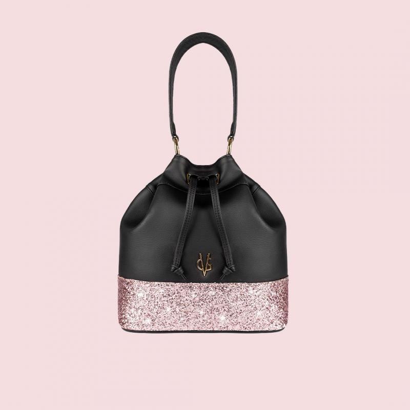 Vg seau noir & glitter rose clair