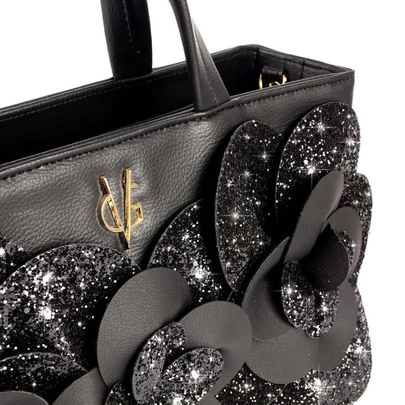 VG black glitter camelia bag