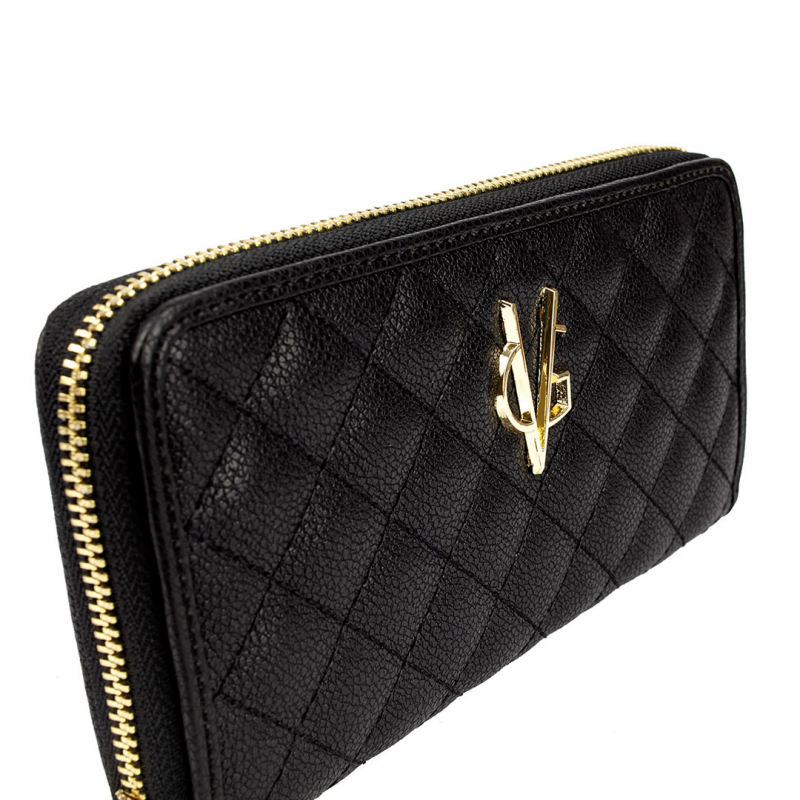 VG black quilted wallet and gold logo