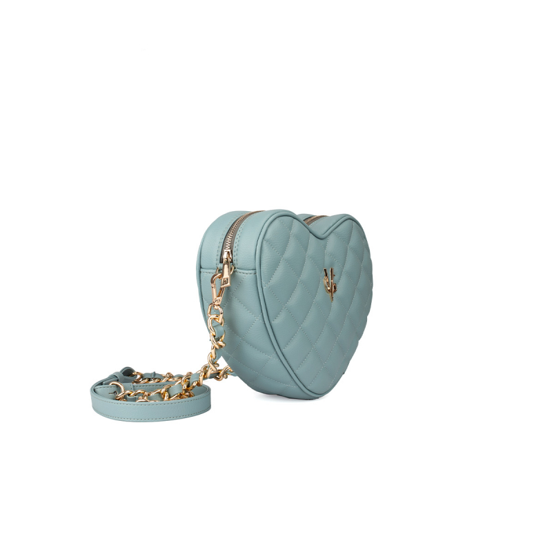 VG green sage quilted small heart bag