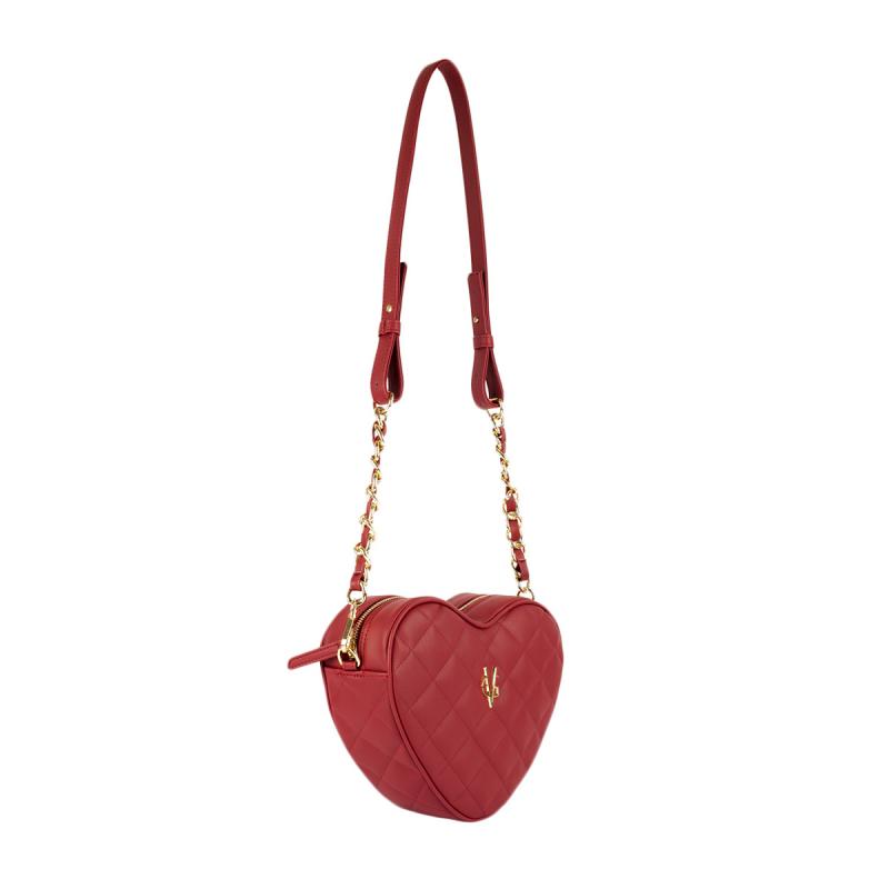 VG petit sac à bandoulière coeur matelassé bordeaux