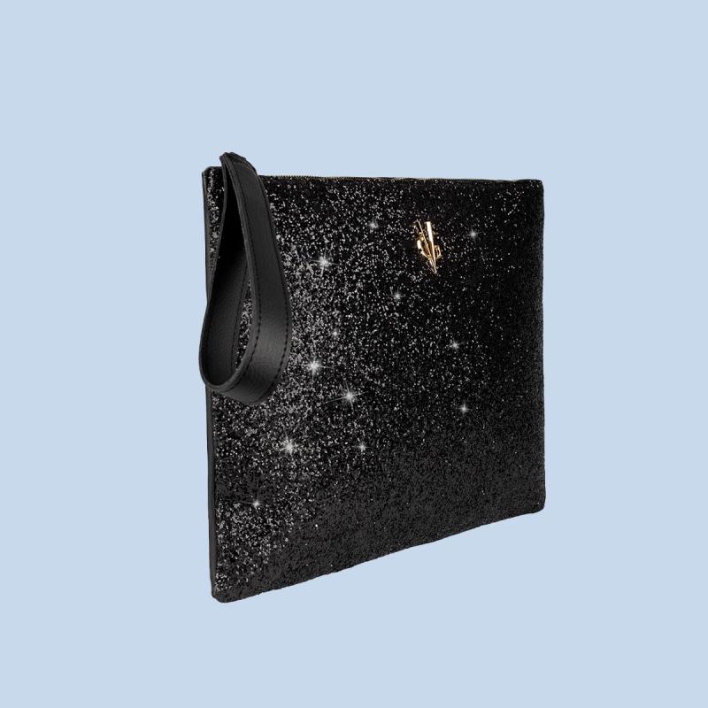 VG black clutch & black glitter