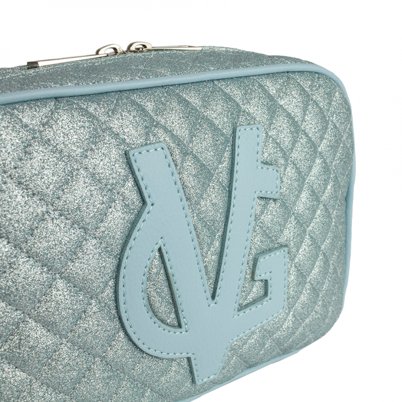 VG saponetta piccola trapuntata glitter sottile azzurra