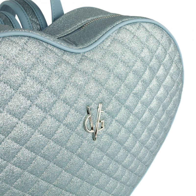 VG light blue quilted thin glitter heart backpack