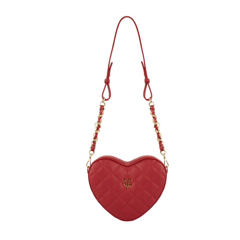 VG burgundy quilted small heart bag