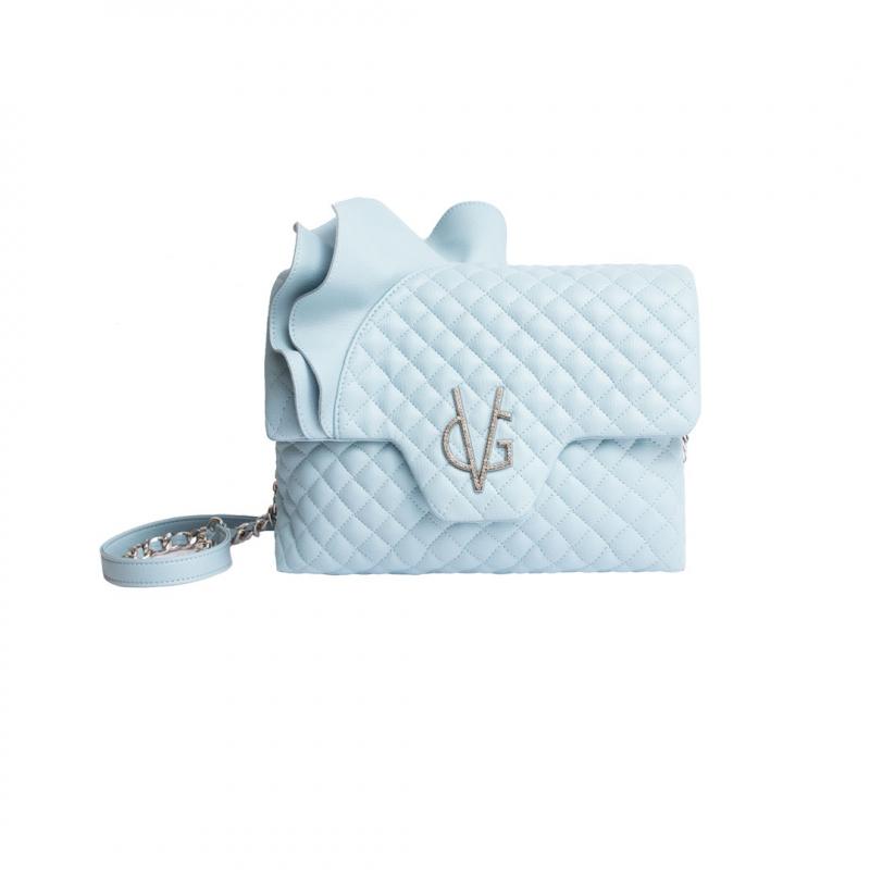 VG Borsa a tracolla rouches azzurro dusty