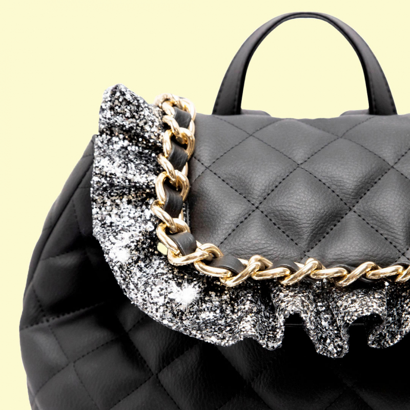 VG black quilted backpack and gray glitter frappa
