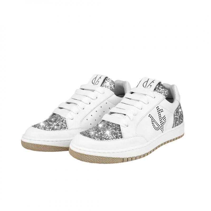 VG Sneakers bassa bianca & glitter argento