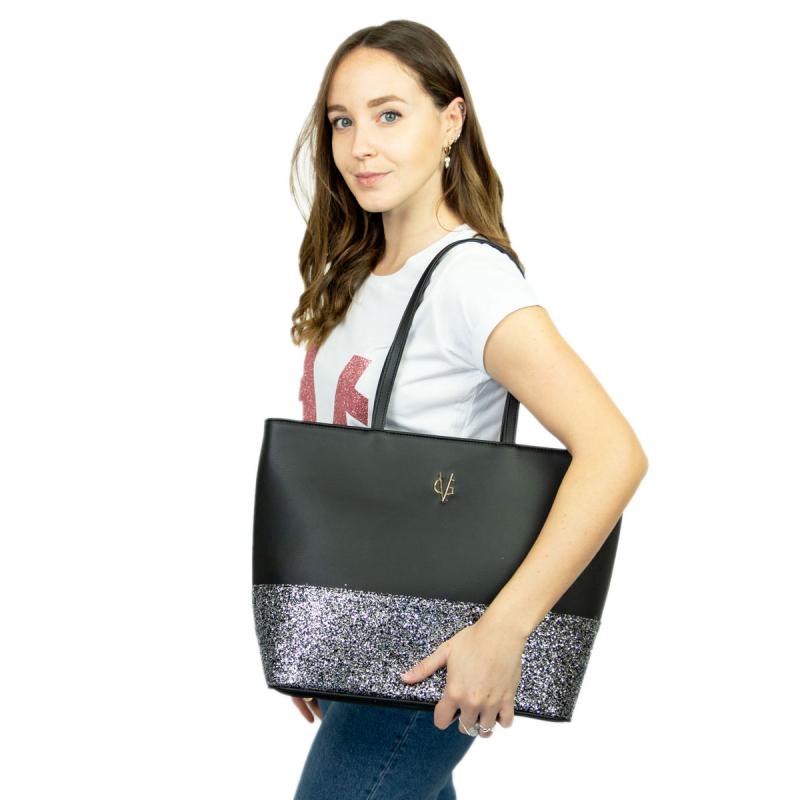 VG shopping noir & glitter gris