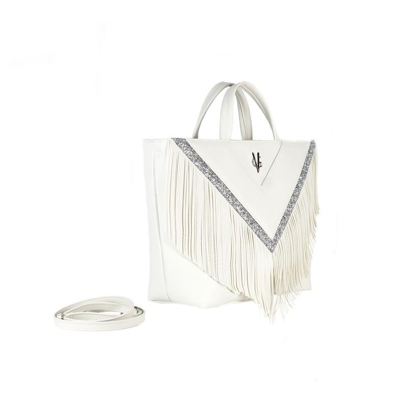 VG30 shopping à franges blanc