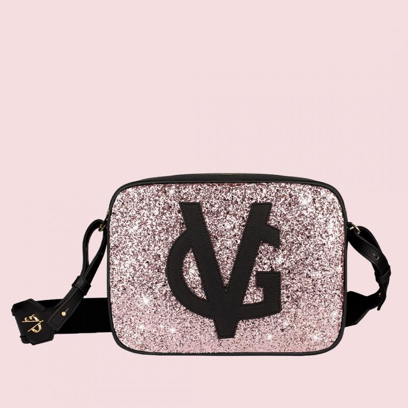 VG saponetta grande nera & glitter rosa cipria
