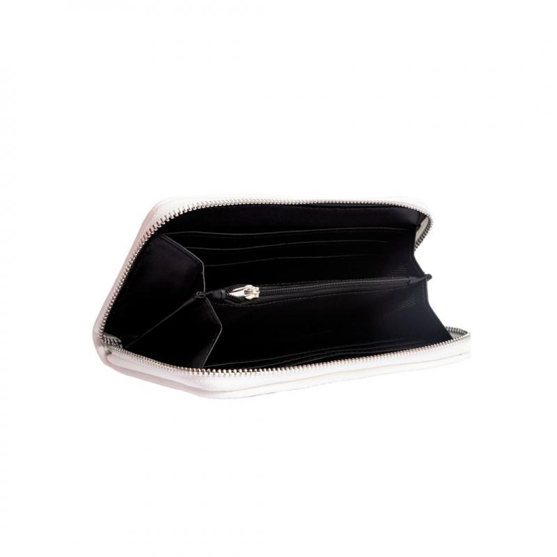 VG portafoglio trapuntato bianco e logo in cristalli