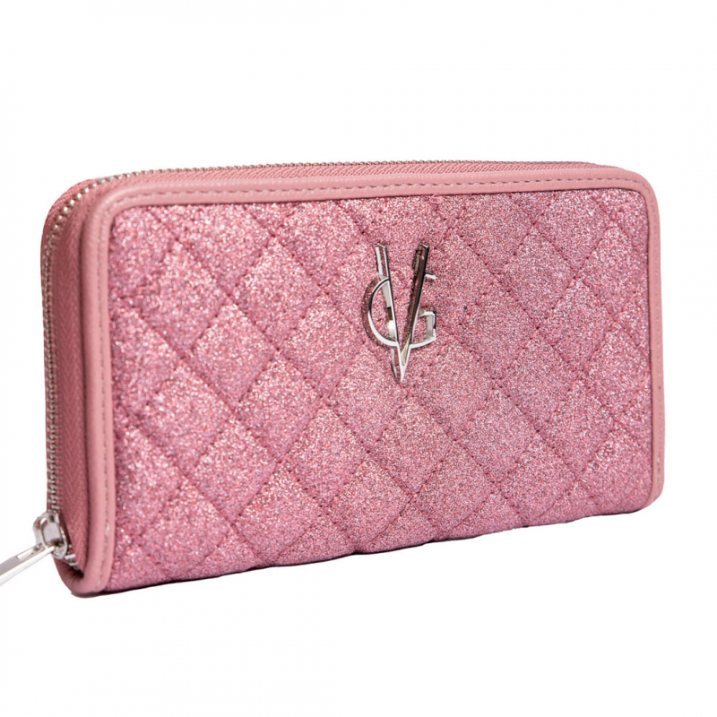 VG portafoglio trapuntato rosa glitter sottile