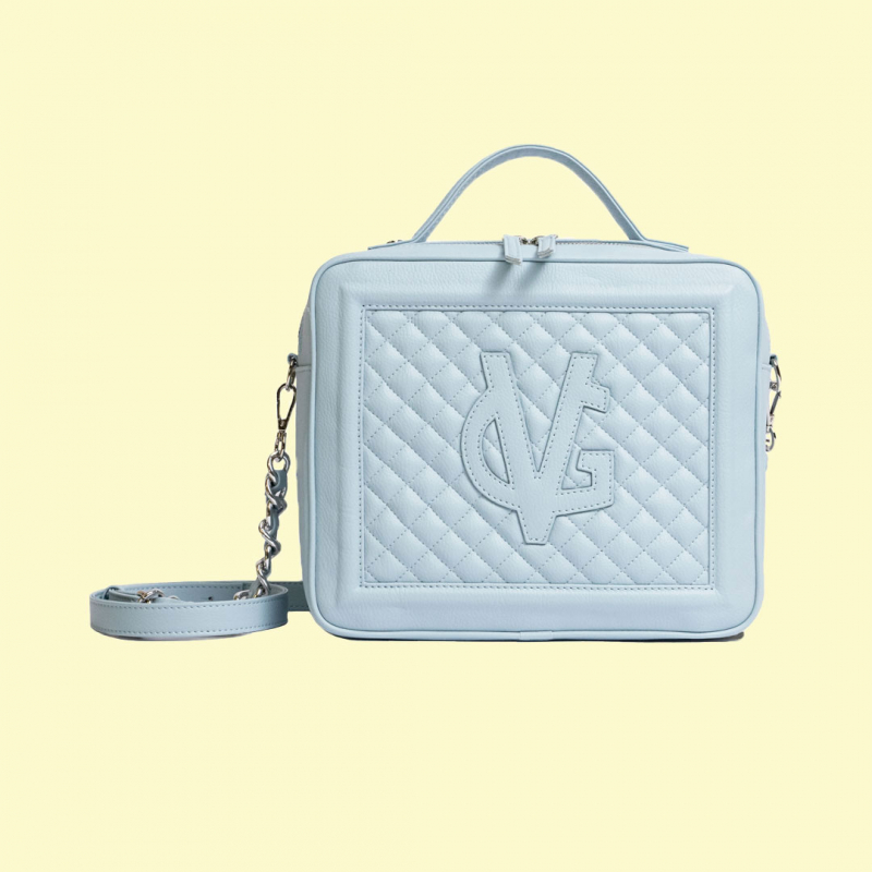 VG Medium quilted dusty blue cubotto bag