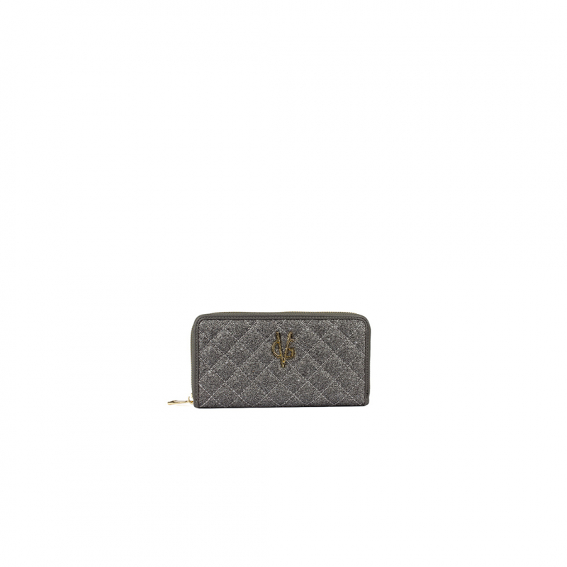 VG grey glitter quilted wallet