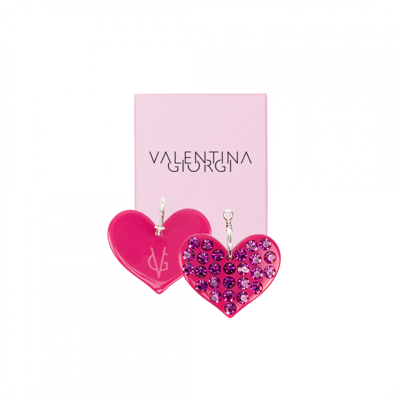 ❤️ VG Love-her! Hoop earrings with fuchsia heart and fuchsia crystals