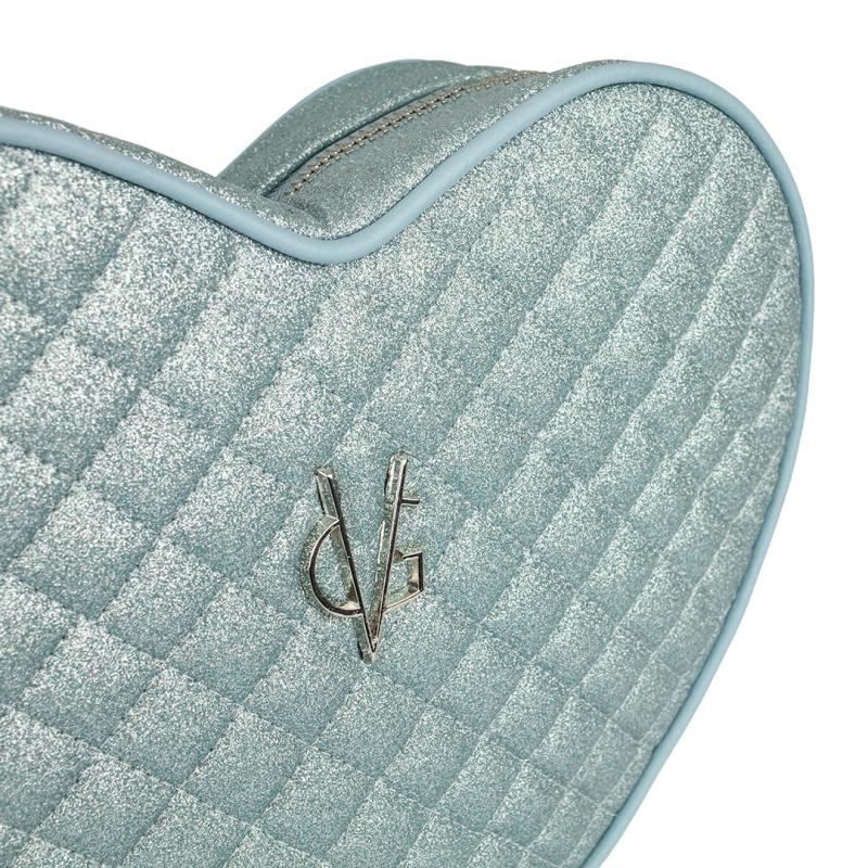 Sac porté épaule cœur pailleté fin bleu clair matelassé VG