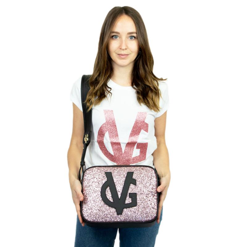 VG black shoulder big soap bag & light pink glitter