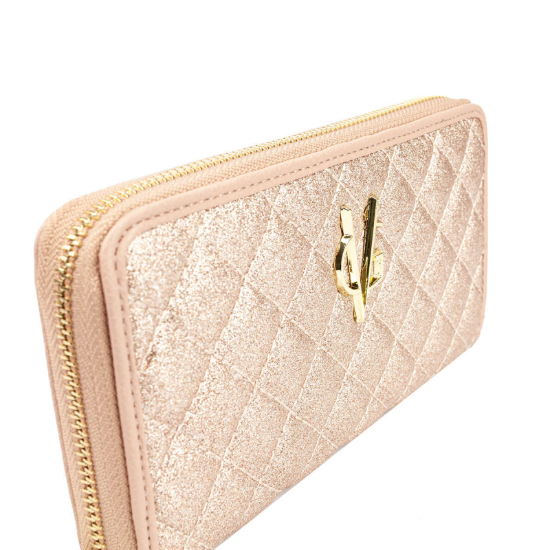 VG light pink glitter quilted wallet