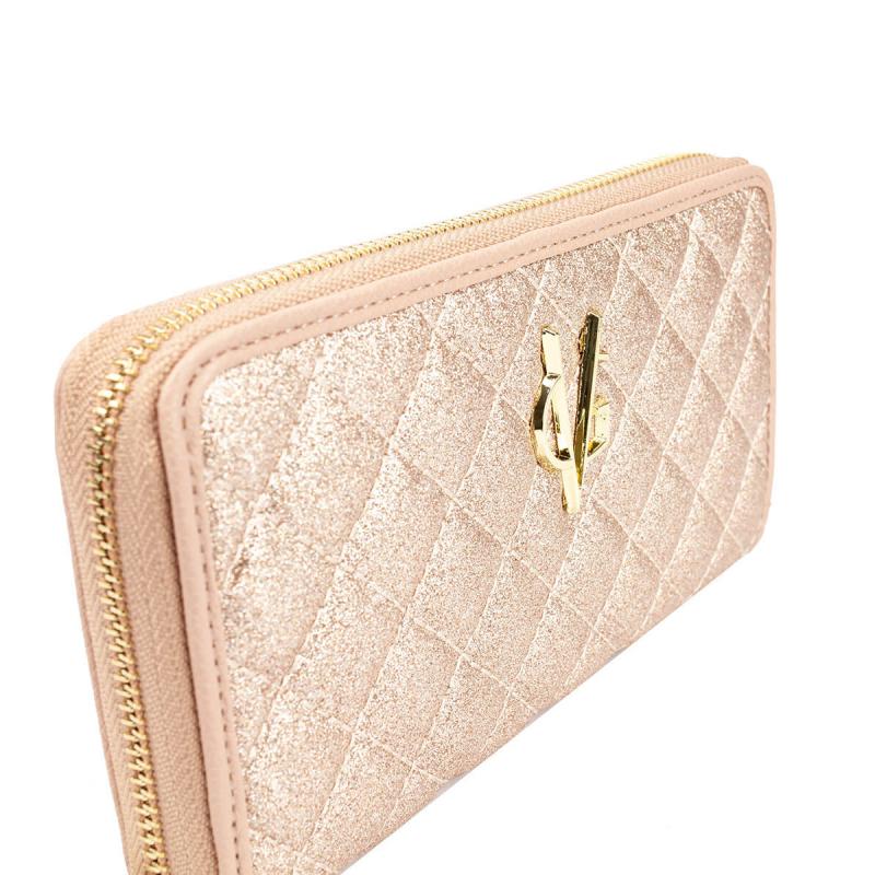 VG portafoglio trapuntato glitter rosa cipria