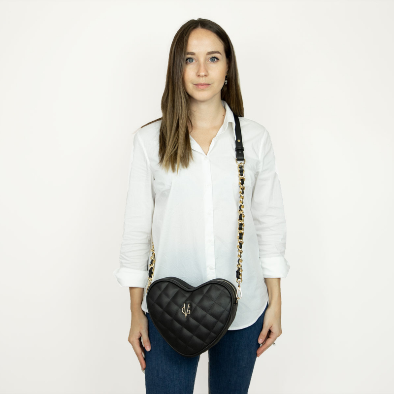 VG black quilted small heart bag