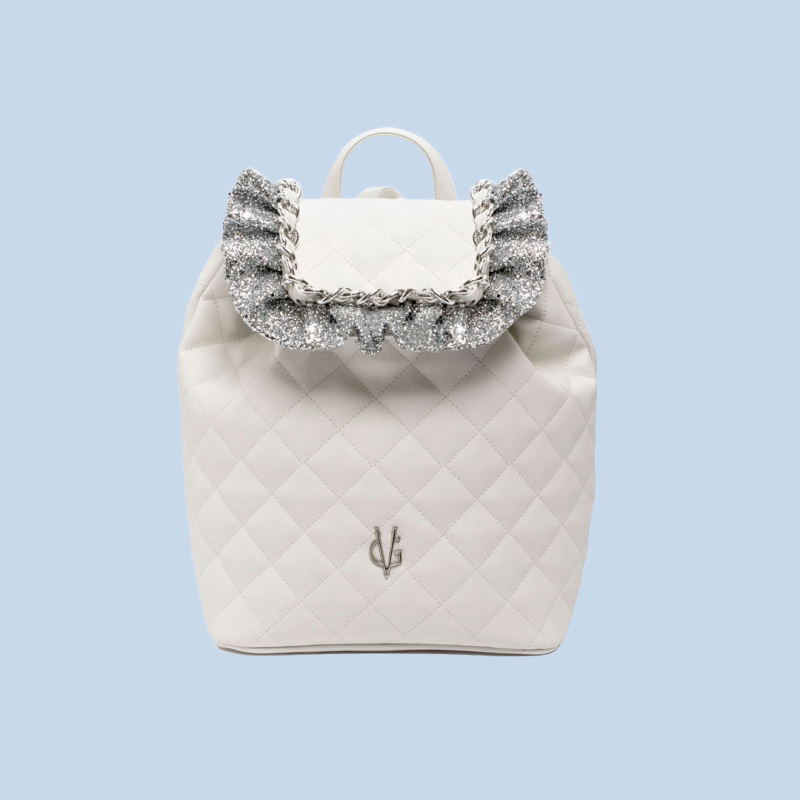 VG white quilted backpack and silver glitter ruches