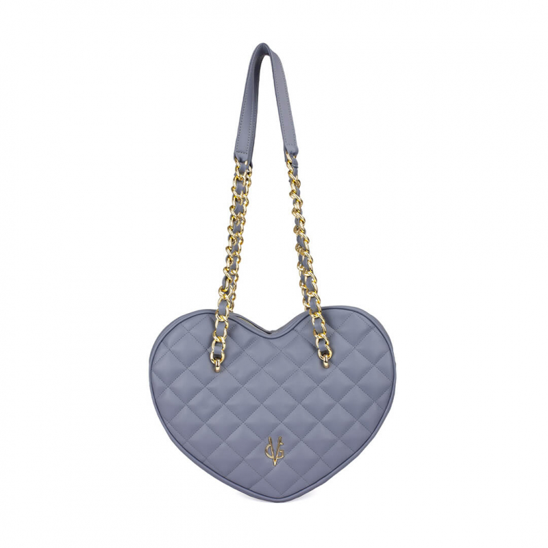 VG violet quilted big heart bag