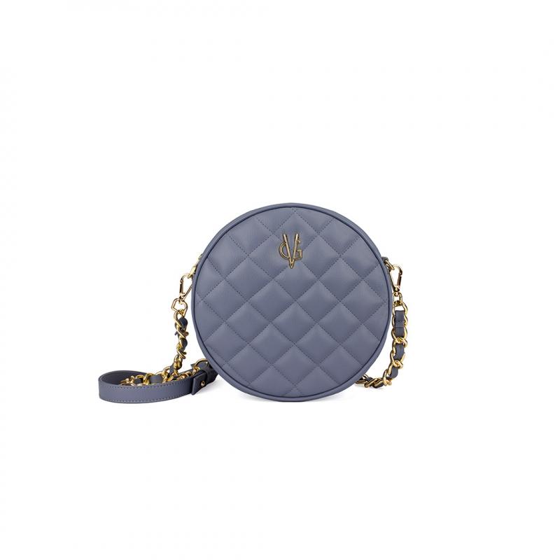 VG petit sac à bandoulière rond matelassé violet