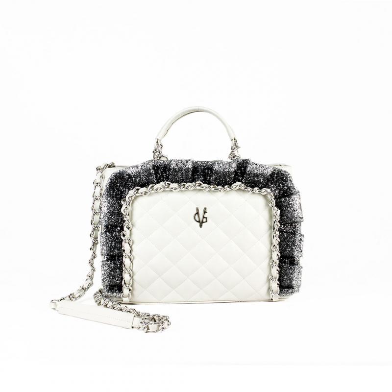 VG sac à main matelassé blanc et rouches glitter