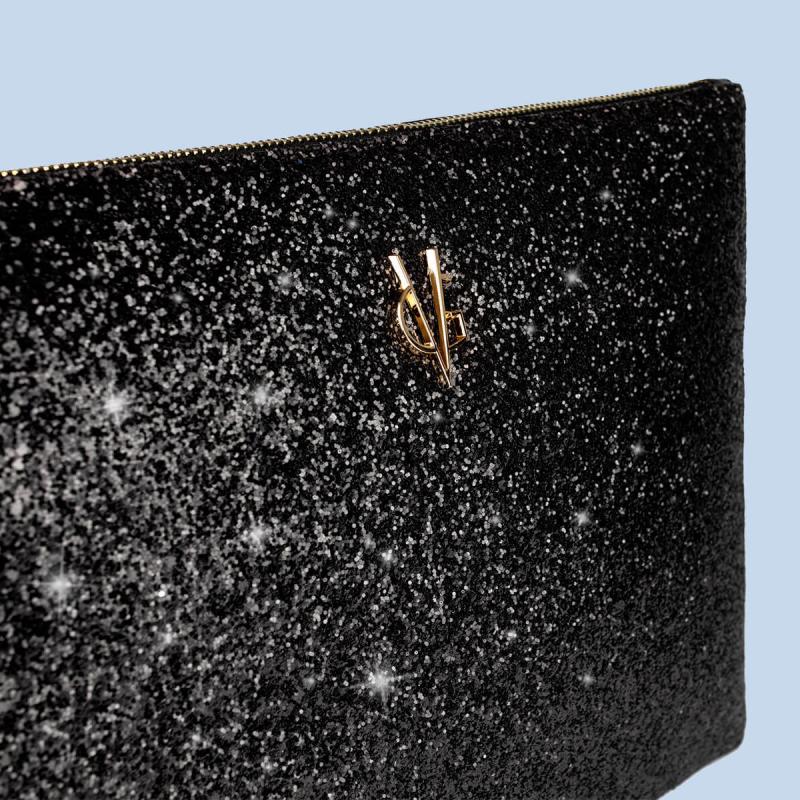 VG clutch noir & glitter noir