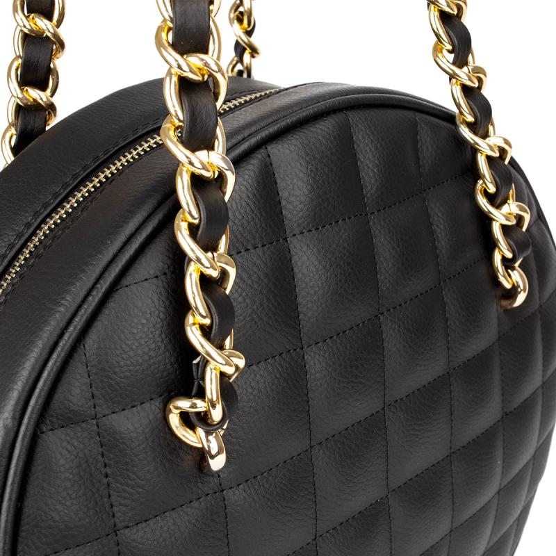 VG black quilted big round bag