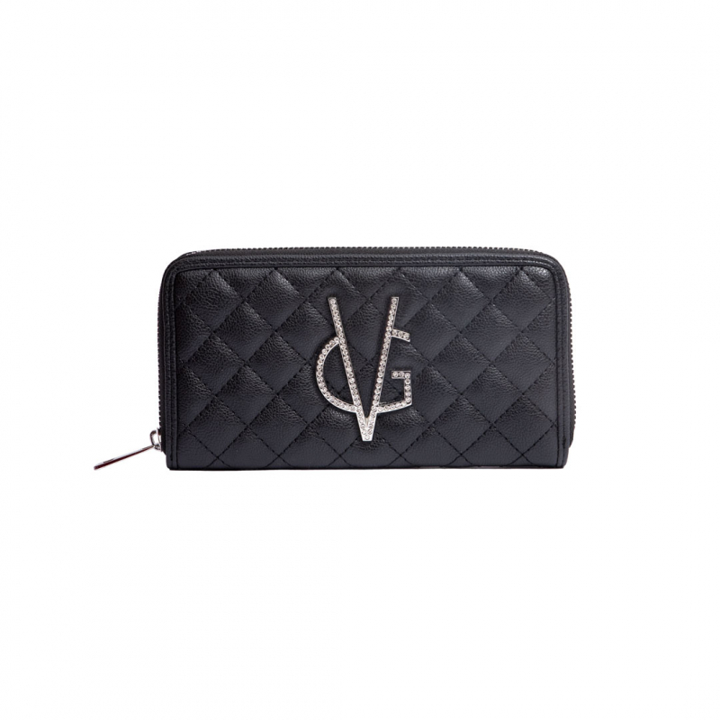 VG black quilted wallet and crystal logo