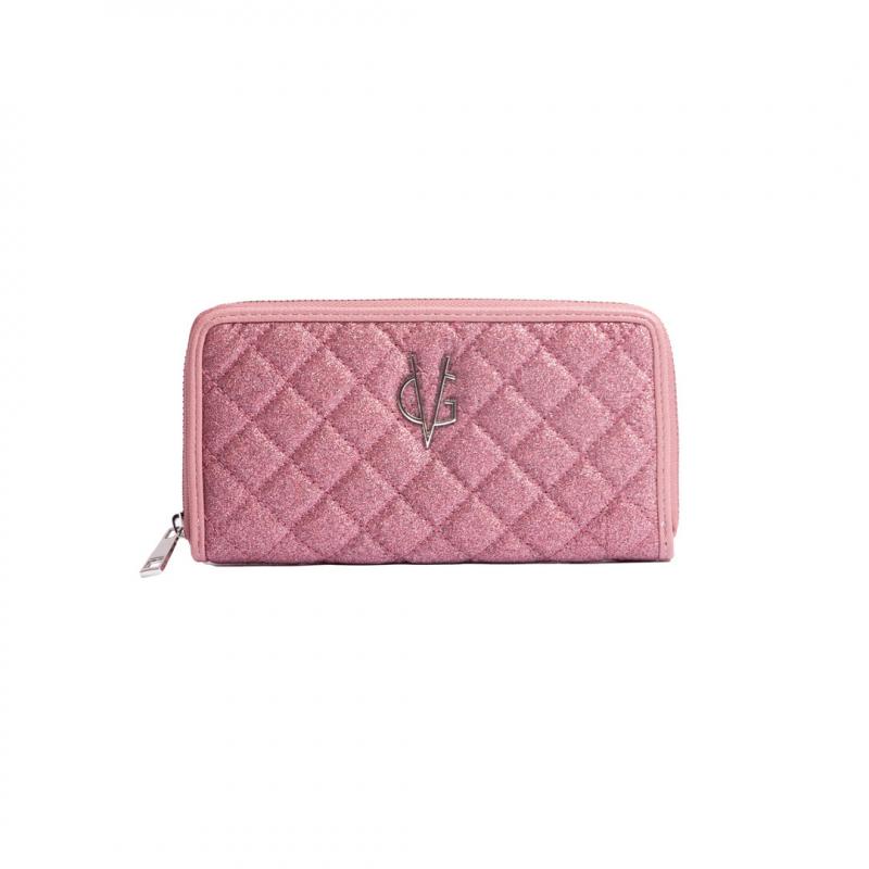 VG slim glitter pink quilted wallet