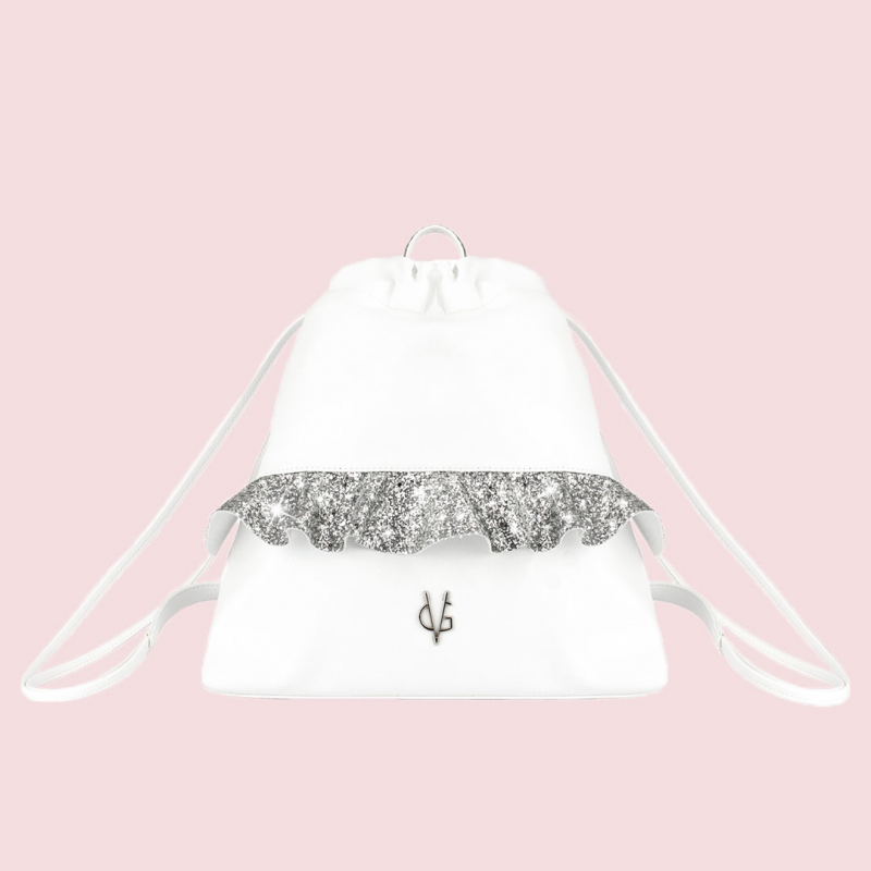 VG silver glitter rouches backpack