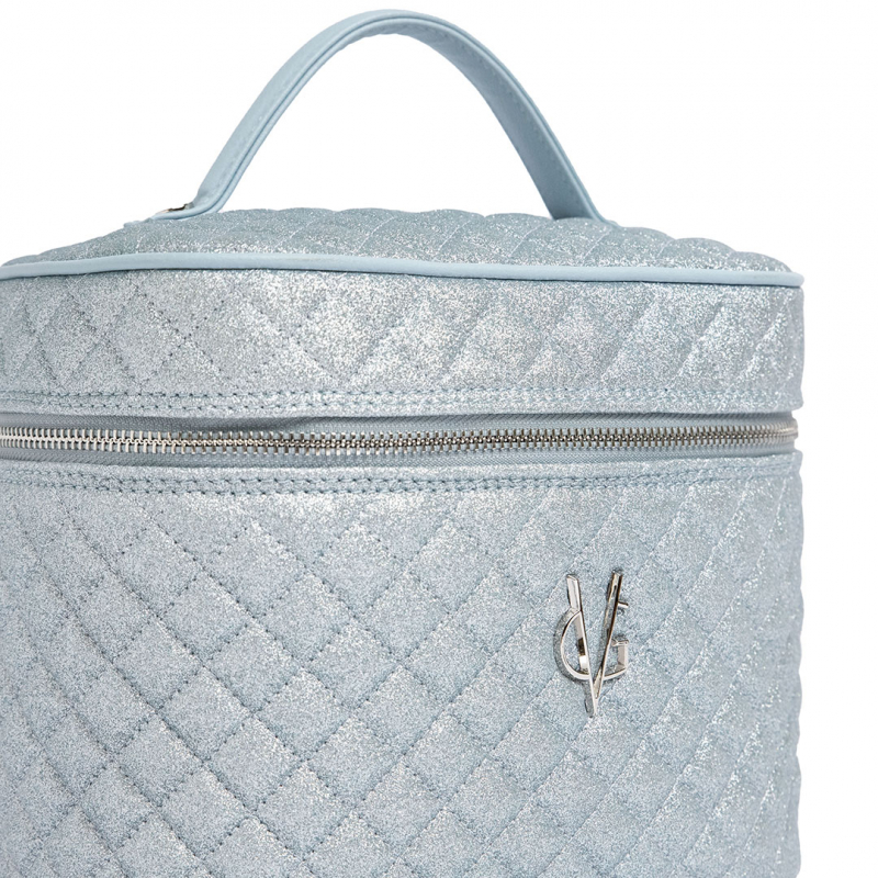 VG Beauty Case quilted dusty blue thin glitter with mirror