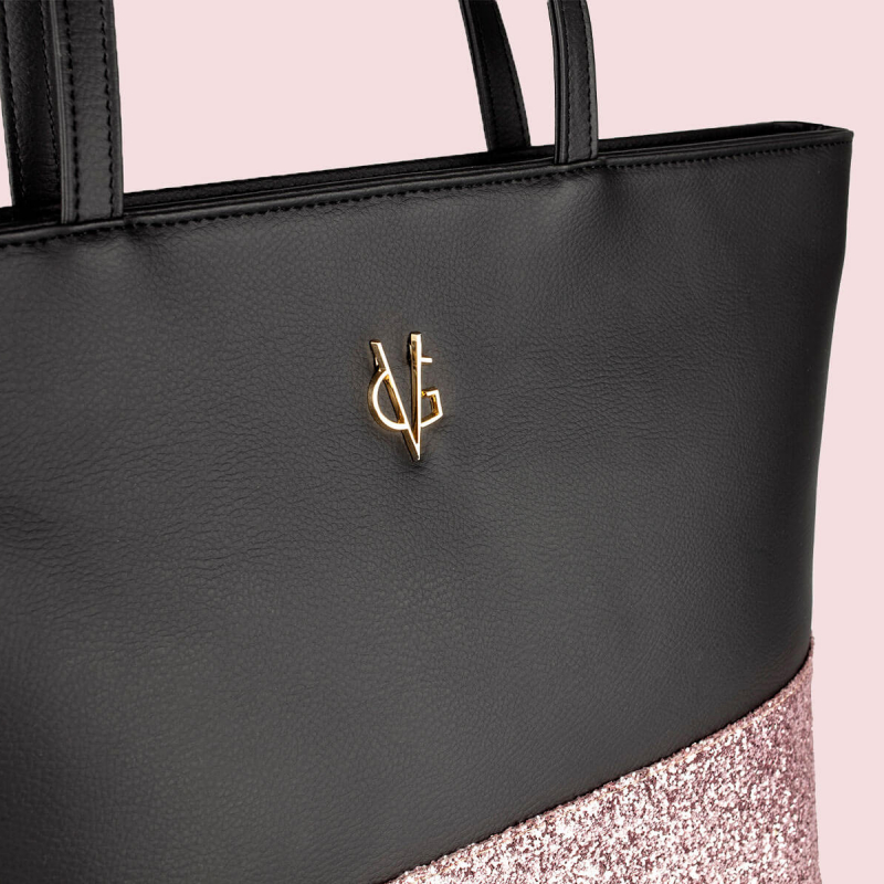 VG black shopping bag & light pink glitter