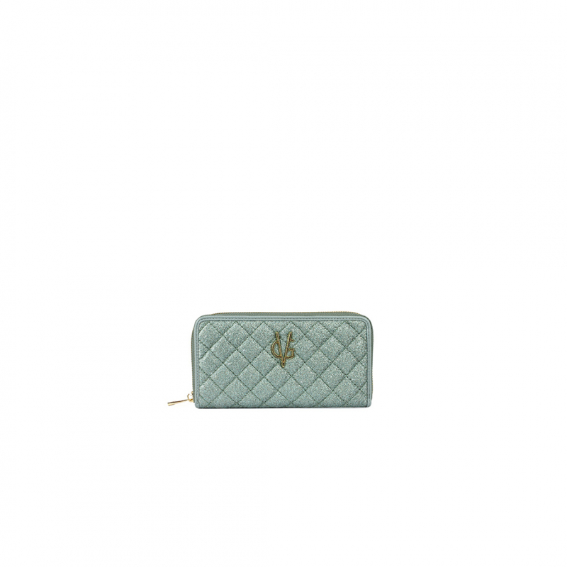 VG green sage glitter quilted wallet