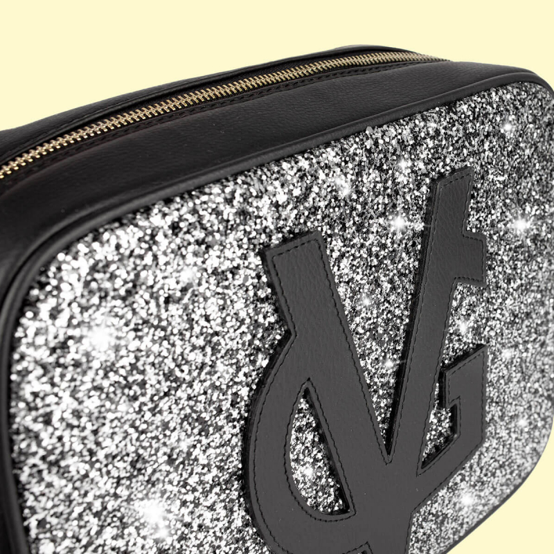 VG black shoulder big soap bag & grey glitter