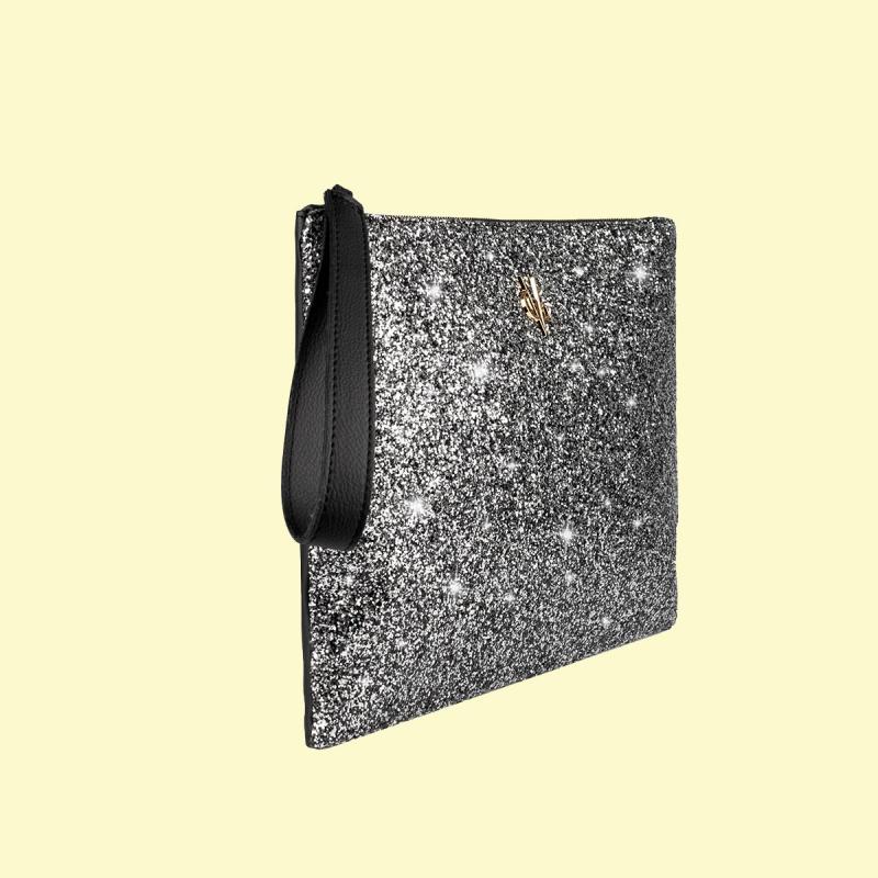 VG clutch noir & glitter gris
