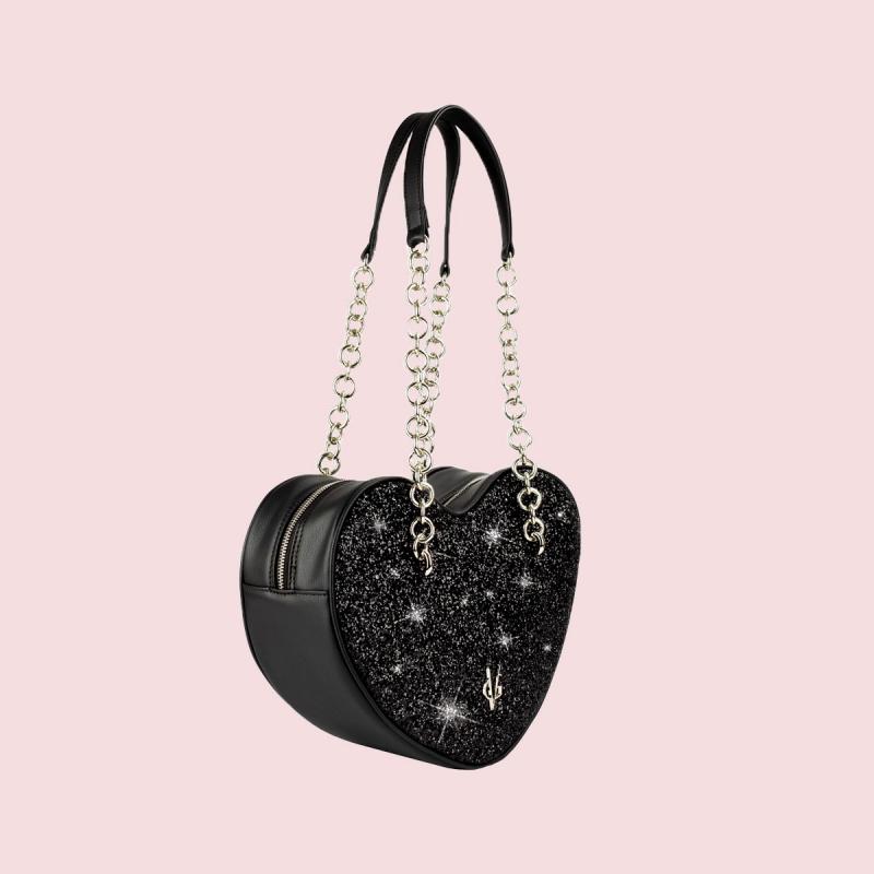 VG black glitter big heart