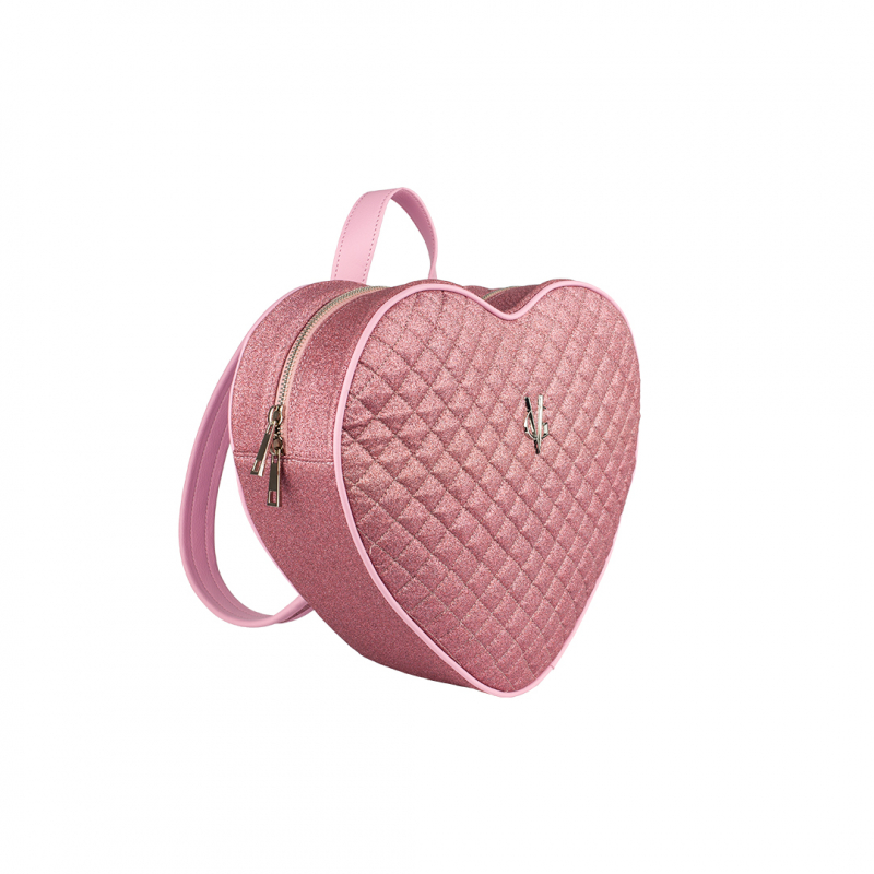 VG pink quilted thin glitter heart backpack