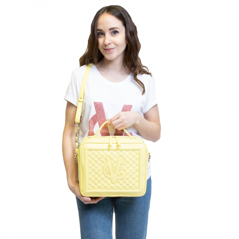 VG MEDIUM QUILTED CUBE BAG YELLOW VANILLA
