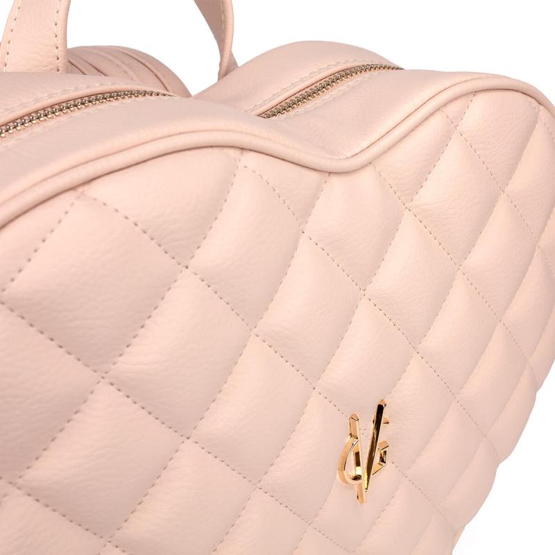 Vg sac à dos coeur matelassé rose clair