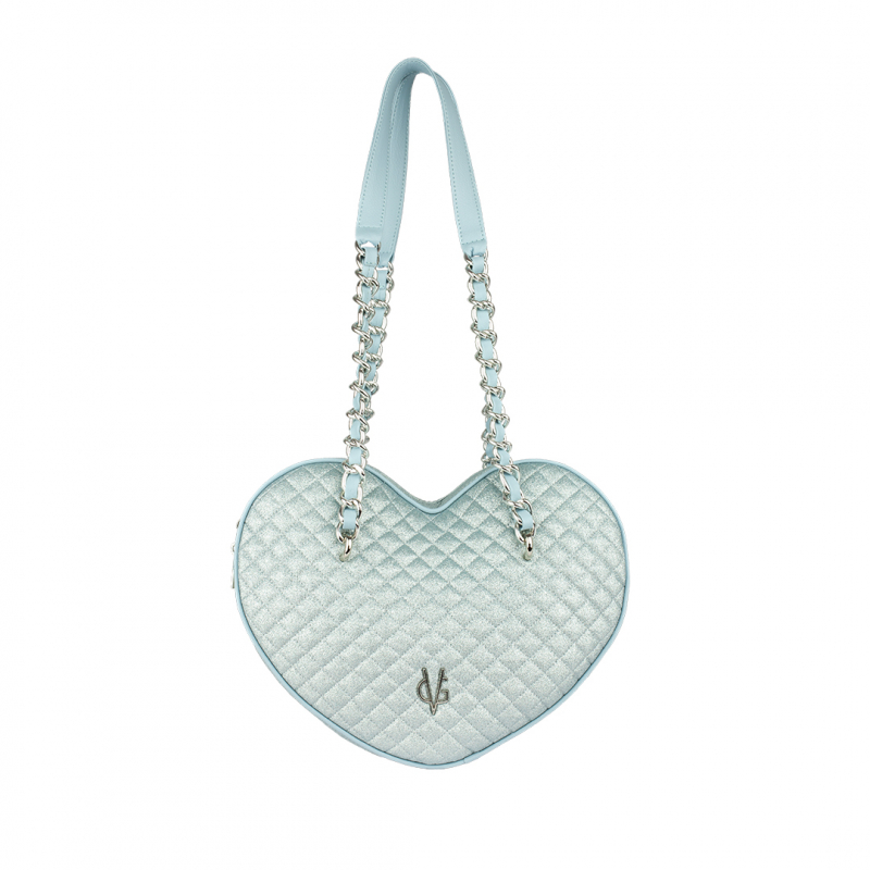 VG large heart bag in light blue quilted thin glitter
