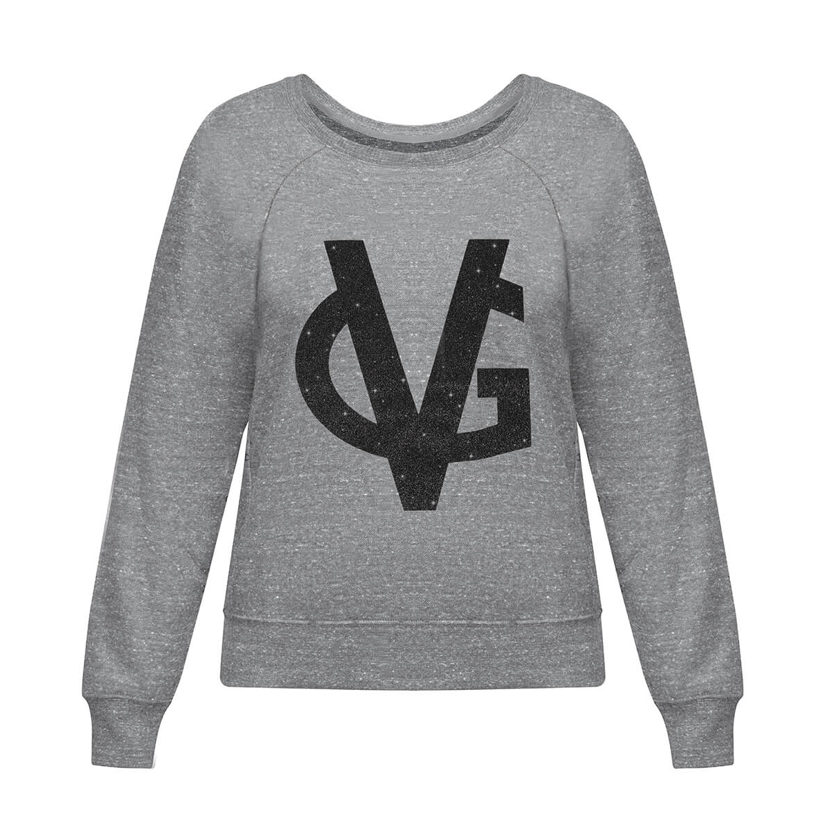 VG Felpa grigia & logo glitter nero