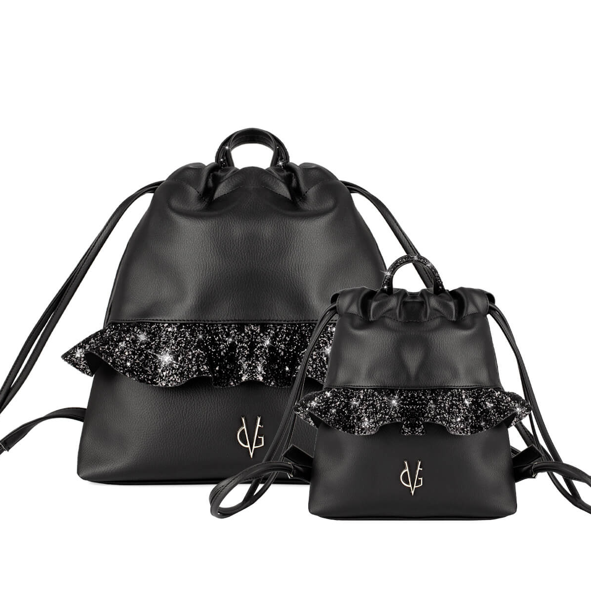 VG black glitter rouches backpack set Mamy & Baby