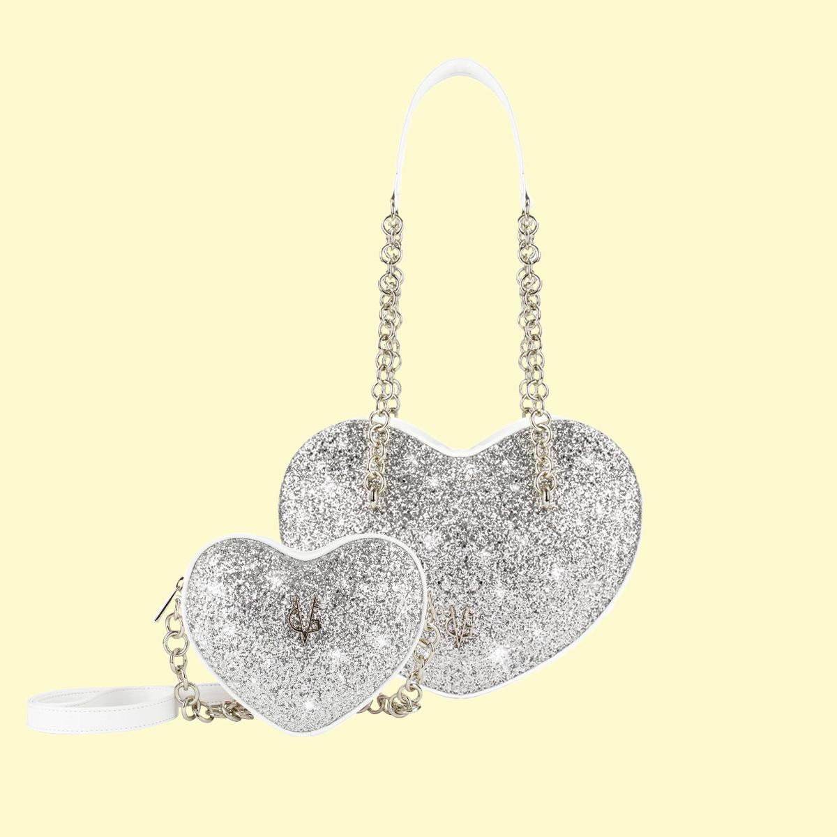 VG silver glitter heart set Mamy & baby