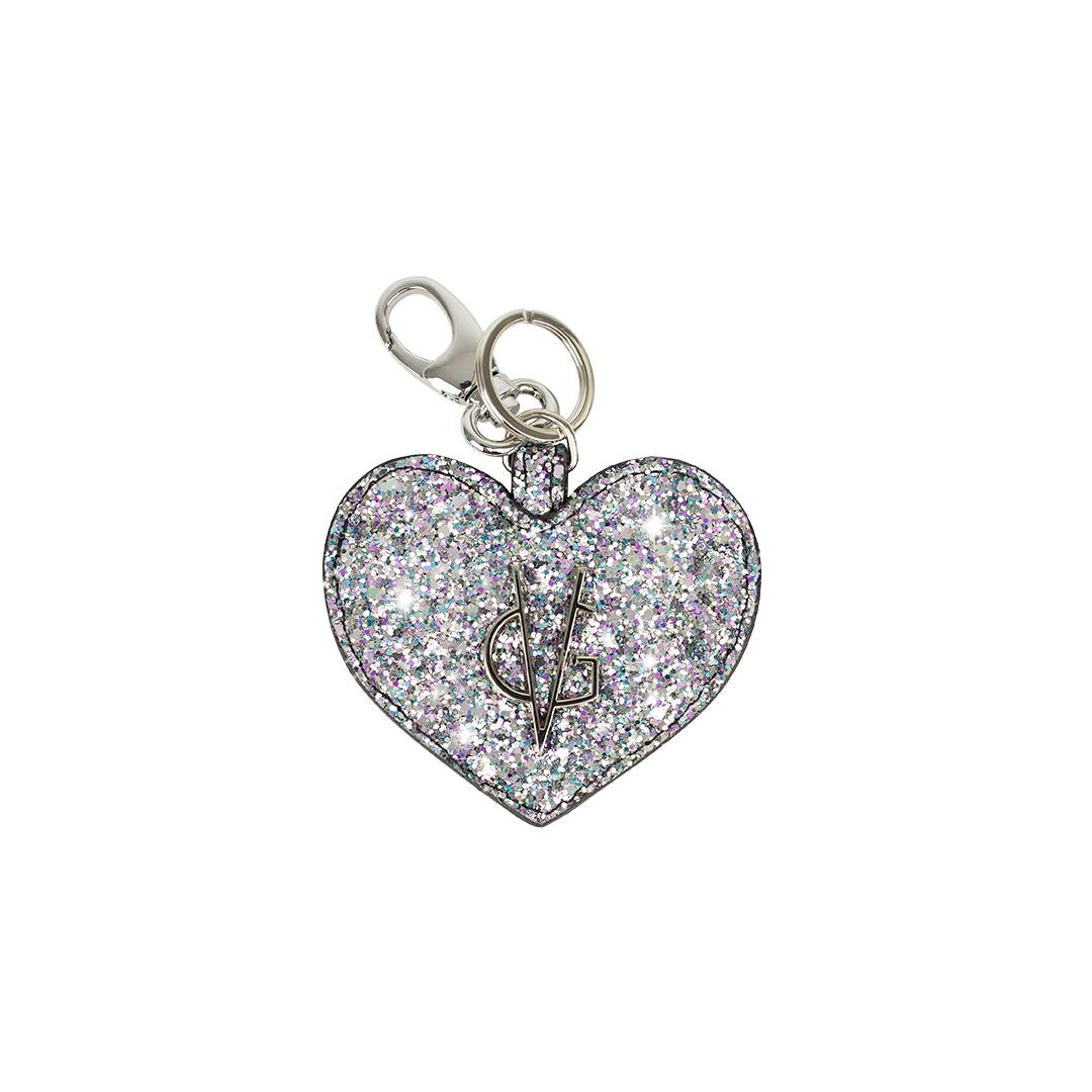 VG Porte-clés coeur pailleté rose Licorne