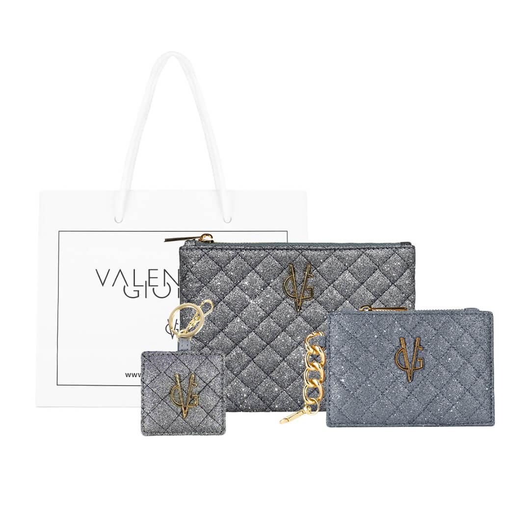 VG Pacchetto bustina+portamonete+portachiavi glitter trapuntati indaco