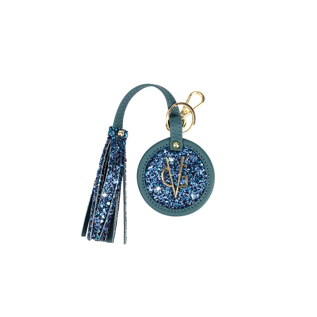 VG round keychain with teal glitter tassel